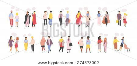 Collection Of Men And Women Standing And Speaking, Talking, Chatting, Delivering Verbal Messages To
