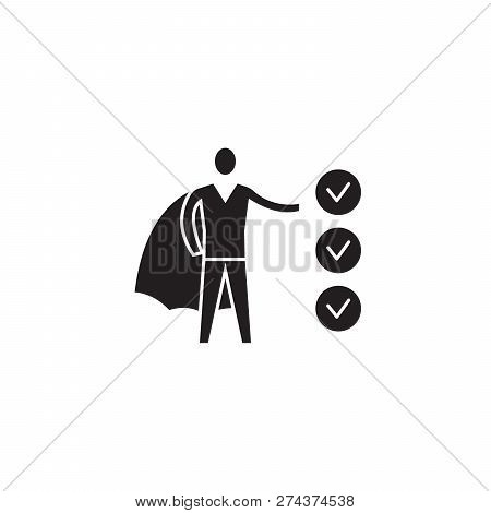 Business Ambition Black Vector Concept Icon. Business Ambition Flat Illustration, Sign