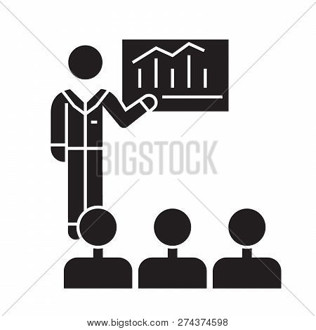 Business Conference, Mentor Teaching Black Vector Concept Icon. Business Conference, Mentor Teaching