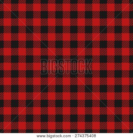 Red And Black Lumberjack Seamless Background. Woodcutter Plaid Pattern. Template For Clothing Fabric