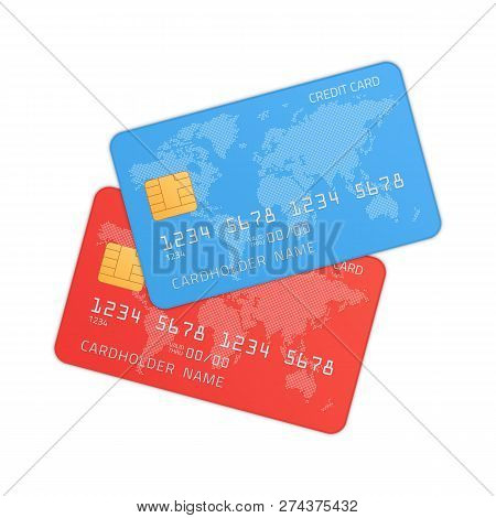 Red And Blue Credit Cards In Realistic Style. Plastic Bank Credit Or Debit Card Isolated On White Ba