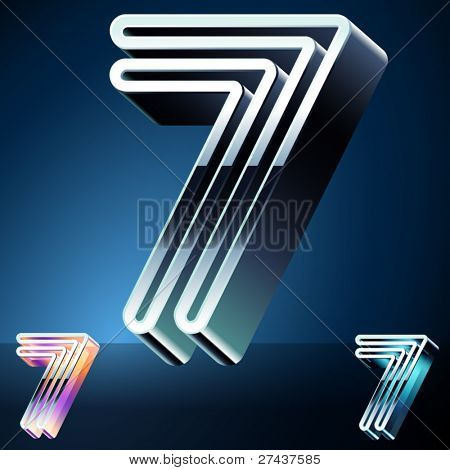 Three-dimensional ultra-modern alphabet from chrome or metal letters. Character 7