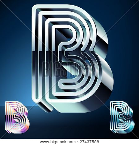 Three-dimensional ultra-modern alphabet from chrome or metal letters. Character b