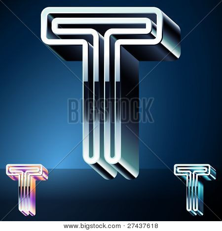 Three-dimensional ultra-modern alphabet from chrome or metal letters. Character t