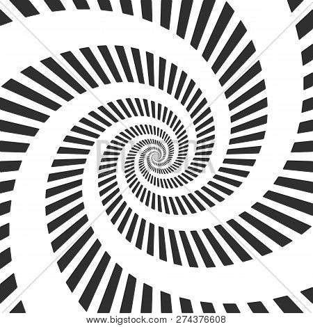 Abstract Hypnotic Spiral Background. Black And White Vortex Pattern. Vector Illustration Eps 10.