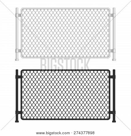 Chain Link Fence. Fences Made Of Metal Wire Mesh On White Background. Wired Fence Pattern In Realist