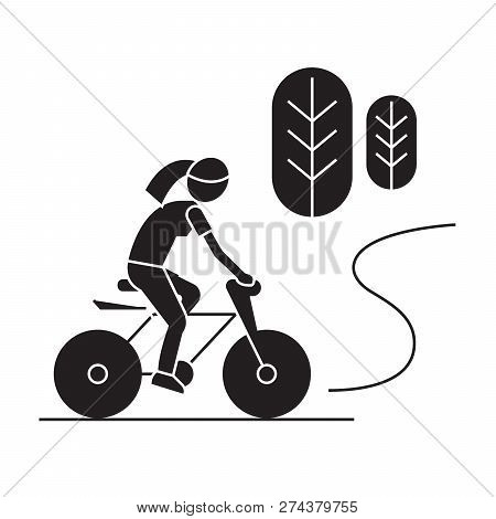 Countryside Bike Ride Black Vector Concept Icon. Countryside Bike Ride Flat Illustration, Sign