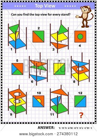 Iq And Spatial Skills Training Educational Math Puzzle: Find The Top View For Every Object - Colorfu
