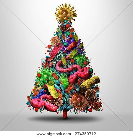 Christmas Holiday Flu Season And Winter Illness Medical Health Concept As A Festive Seasonal Tree Ma