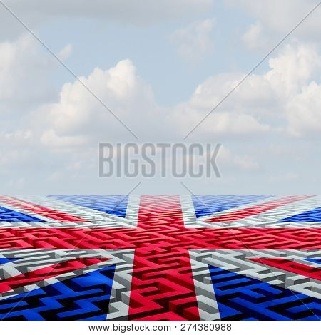 United Kingdom Brexit Crisis Challenge And Parliamentary Vote Confusion As The Union Jack On A Confu