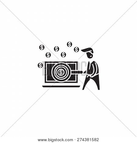 Ditital Business Opportunity Black Vector Concept Icon. Ditital Business Opportunity Flat Illustrati