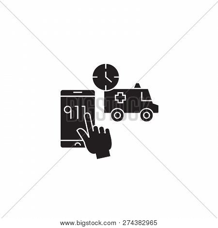 Emergency Call Black Vector Concept Icon. Emergency Call Flat Illustration, Sign