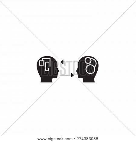 Emotional Intelligence Black Vector Concept Icon. Emotional Intelligence Flat Illustration, Sign