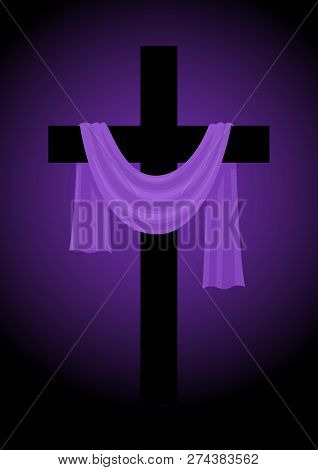 Illustration Of A Cross With Purple Sash, Good Friday, Easter, Christianity Theme