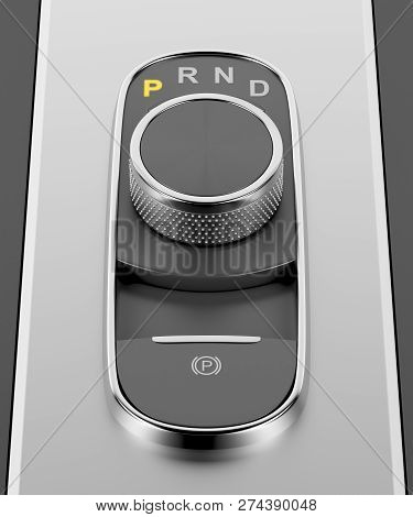 Automatic Transmission With Dial Gear Selector In A Luxury Car, 3d Illustration