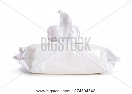 A Wet Wipe, Also Known As A Wet Towel Or A Moist Towelette. Isolated On White Background