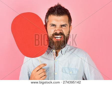 Angry Bearded Man Hold Paper Nameplate. Feeling&emotions. Face Expression. Fashion, Beauty, Hairdres