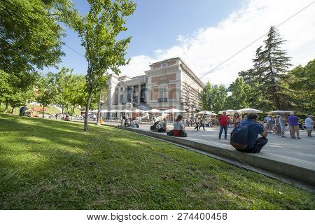 Madrid, Spain - Sept 12th, 2018: North Facade Gardens Area Of National Museum Of The Prado. Madrid,