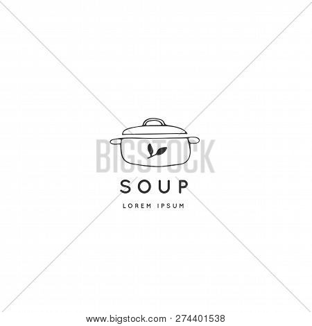 Vector Hand Drawn Logo Template, Saucepan. Kitchen And Food Theme. Isolated Symbol For Business Bran