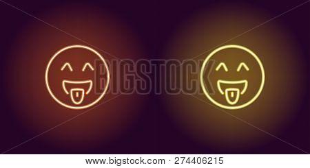 Neon Illustration Of Teasing Emoji. Vector Icon Of Cartoon Teasing Emoji With Tongue And Winking Eye