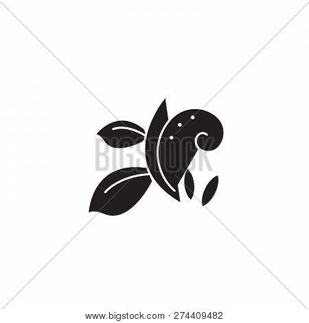 Florist Branch Black Vector Concept Icon. Florist Branch Flat Illustration, Sign