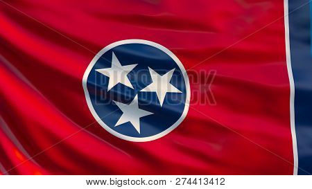 Tennessee  State Flag. Waving Flag Of Tennessee  State, United States Of America. 3d Illustration