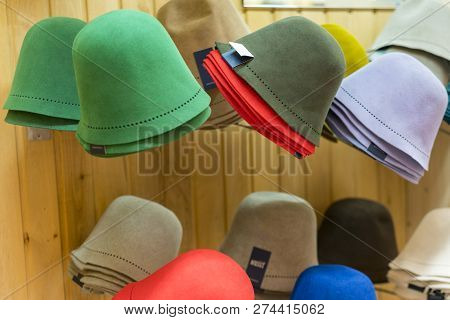 Multicolor Hats For Bath. Headgear For A Sauna, For Sale In A Store