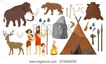 Vector Illustration Of Stone Age People With Elements For Life, Hunting Tools. Primitive Neanderthal