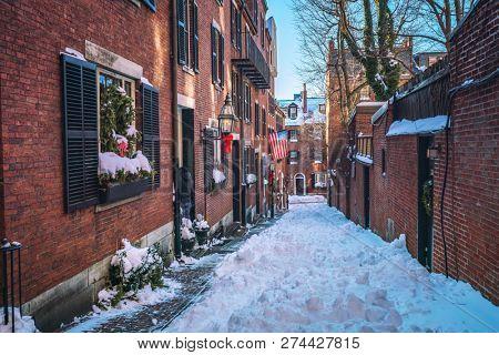 Boston old narrow street at snowy winter