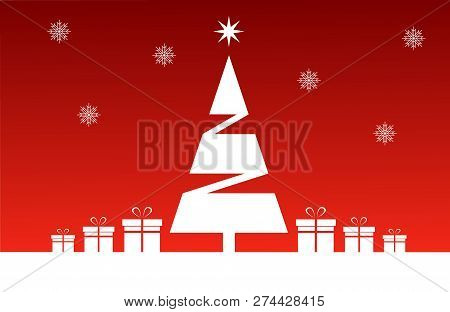 Christmas Tree On A Red Background Surrounded By Presents