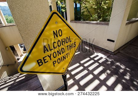 Sign For No Alcohol Beyond This Point Prevents People From The Open Container Law