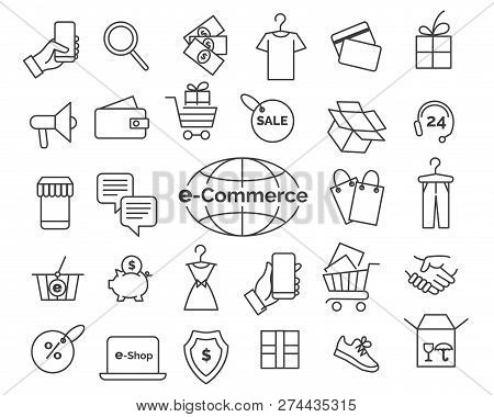 E-commerce Line Icons. Online Shopping And Delivery Elements In Thin Line Style, Web Retail Icon Set