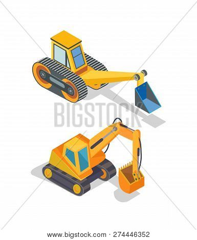 Excavator And Bulldozer Industrial Machinery Icons Vector. Loader With Shovel, Excavation Machine, B