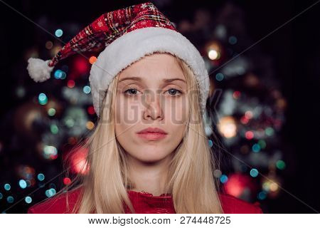 Womans Christmas. New Year Girl. Alone On Party New Year. Winter Sadness. Lonely Girl On Christmas N
