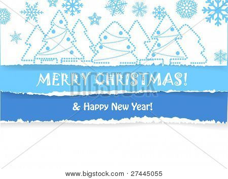 Christmas greeting card with christmas forest and snowfall on fragmentary color  paper background