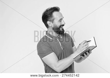 Time Management Skills. Man Planning Schedule Hold Notepad. Man Bearded Manager Happy Smiling Face.