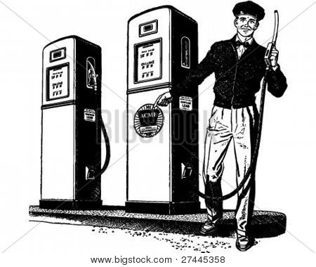 Gas Station Attendant 2 - Retro Clipart Illustration