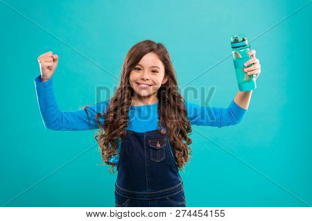 Healthy And Hydrated. Girl Cares About Health And Water Balance. Girl Cheerful Hold Water Bottle Blu