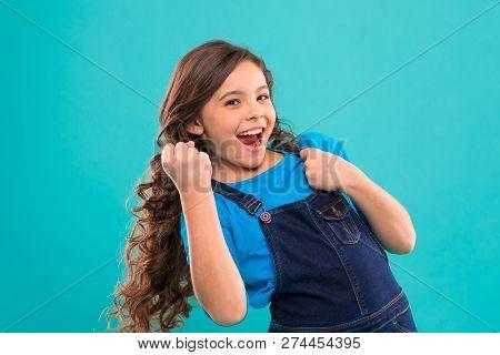 Happy Winner. Successful Happy Kid. Achieve Success. Kid Cheerful Celebrate Victory. Girl Cute Child