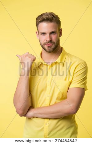 Solution Is Here. Handsome Young Man Keeping Hand On Chin While Stand Yellow Background. Hard Questi