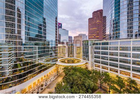 Houston, Texas, USA downtown cityscape at dusk.