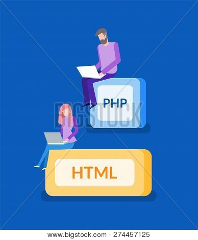 Php And Html, Programmer Work, It Technologies. Man And Woman With Laptop, Digital Space, Modern Com