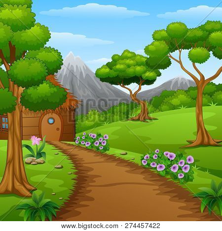 Vector Illustration Of Wood Cabin In The Countryside With Mountains And Dirt Road