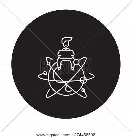 Global Entrepreneur Black Vector Concept Icon. Global Entrepreneur Flat Illustration, Sign