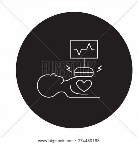 Heart Surgery Black Vector Concept Icon. Heart Surgery Flat Illustration, Sign