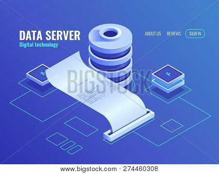 Big data processing and analyzing isometric icon, print output information from the database, data encryption process server room data center top view poster