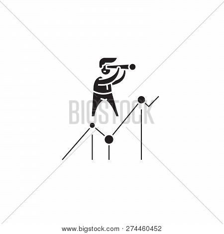 Looking For Opportunities Black Vector Concept Icon. Looking For Opportunities Flat Illustration, Si