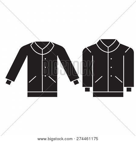 Men Pullover Black Vector Concept Icon. Men Pullover Flat Illustration, Sign