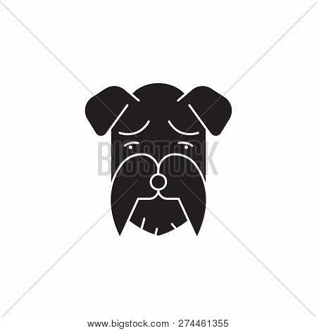Miniature Schnauzer Black Vector Concept Icon. Miniature Schnauzer Flat Illustration, Sign