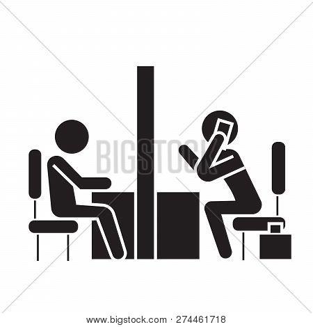 Negotiation Room, Coworking Office Black Vector Concept Icon. Negotiation Room, Coworking Office Fla